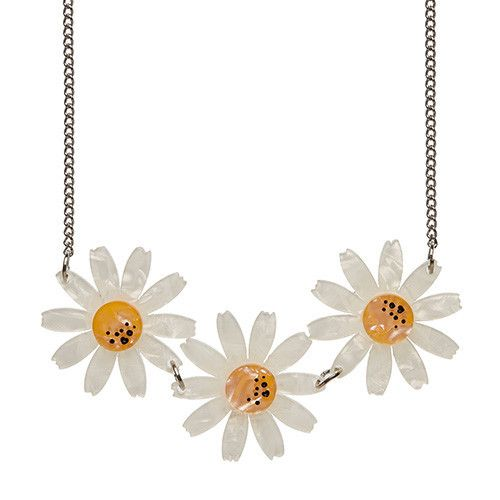 Daisy Chain (Erstwilder White Resin Necklace), now available. Hand assembled and hand painted, presented in a branded box.