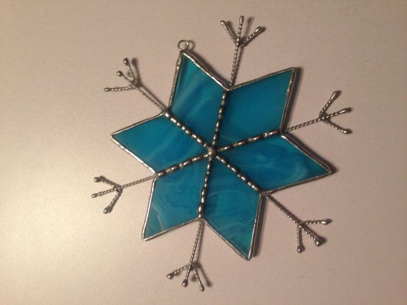 Blue Snowflake Stained Glass Ornament
