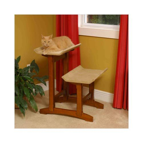 Mr Herzhers Craftsman Series Early American Brown Double Seat Cat Perch ** See this great image  : Cat Doors, Steps, Nets and Perches