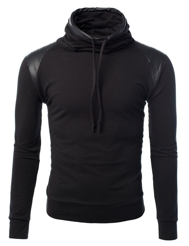 Mens Pullover Sweater with Faux Leather Detail