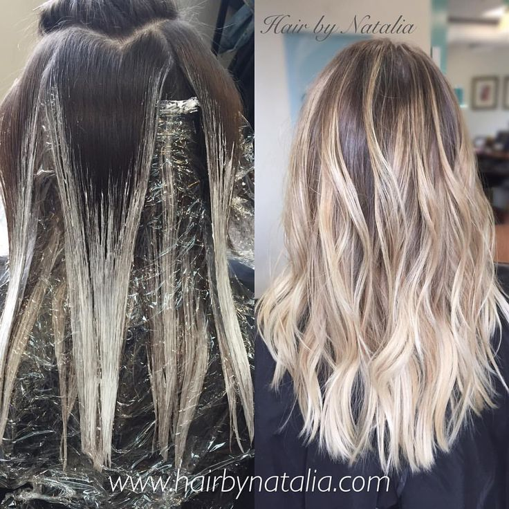 Balayage hair painting. Blonde balayage. #balayage #hair #hairpainting #blondebalayage #haircolor #highlights #beachwaves #denver #denverhairstylist #denverhairsalon #denverhaircolor #hairbynatalia #modernsalon #behindthechair #americansalon...