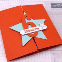 Elegant Einladungskarte Kindergeburtstag, Magnetverschluß, Stern