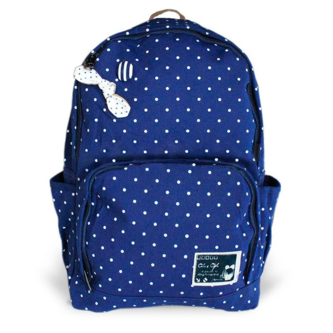 Рюкзак синий в горошек Bow Tie