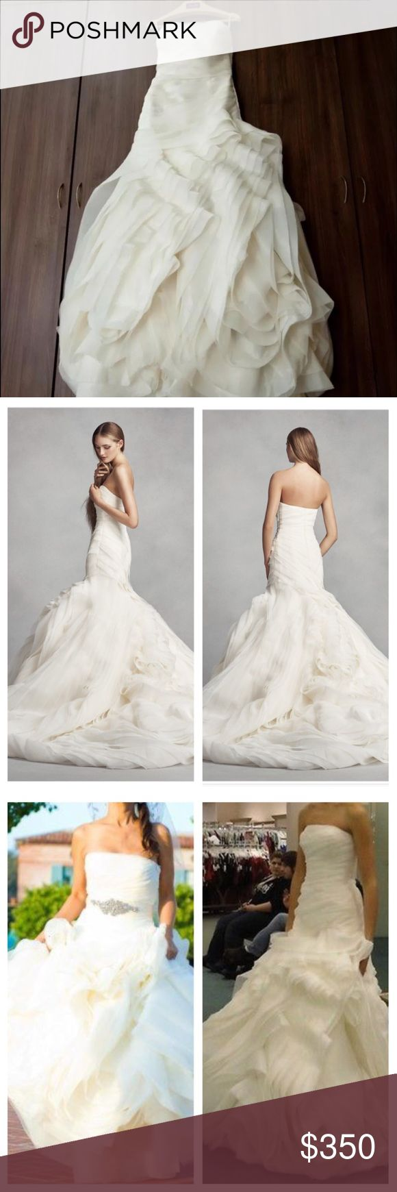 """Vera Wang Organza Trumpet wedding dress Worn only at the church ceremony (1 hour). No damage, stains, rips, oder, etc. Pet and smoke free home. In excellent condition. Inspected and guarantee by a certified professional dry cleaner (see authenticated picture). Retail price $1590+ tax. Purchased at David Bridal store. Buy with confident. No major alteration, just hammed 5""""3. Vera Wang Dresses Wedding"""