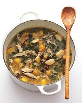 Грибной суп из вешенок с фасолью