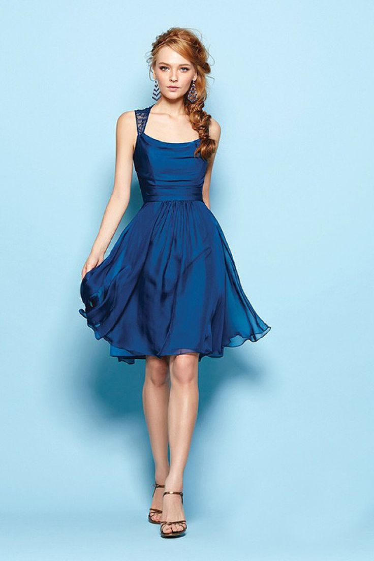 A-line Straps Sleeveless Ruffles Short/Mini Chiffon Blue Bridesmaid Dresses - by OKDress UK