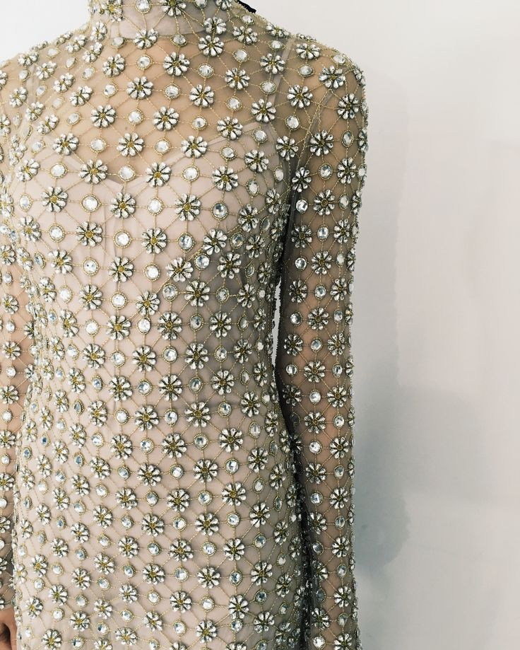 The Temperley London Winter '16 Midi Crossbone Lattice Dress, fully embellished with crystal latticework embroidery.