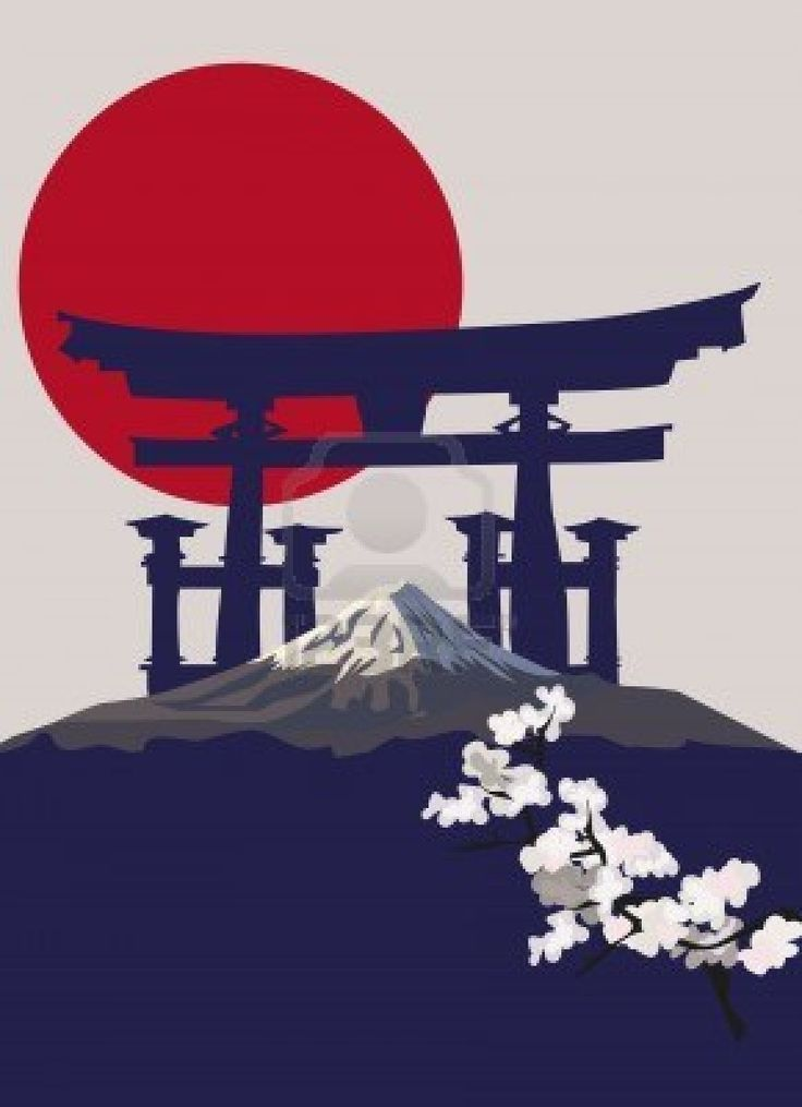Background illustration with Mount Fuji and Torii …