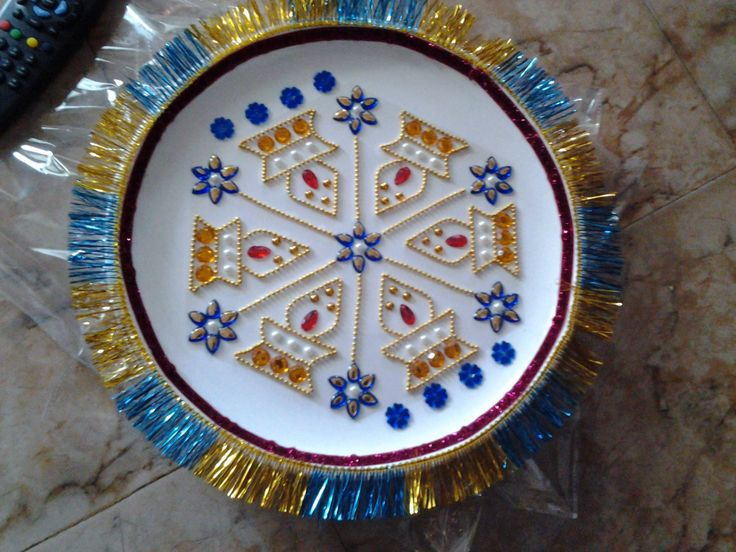 17 best images about aarthi plates on pinterest rakhi for Aarthi plates decoration