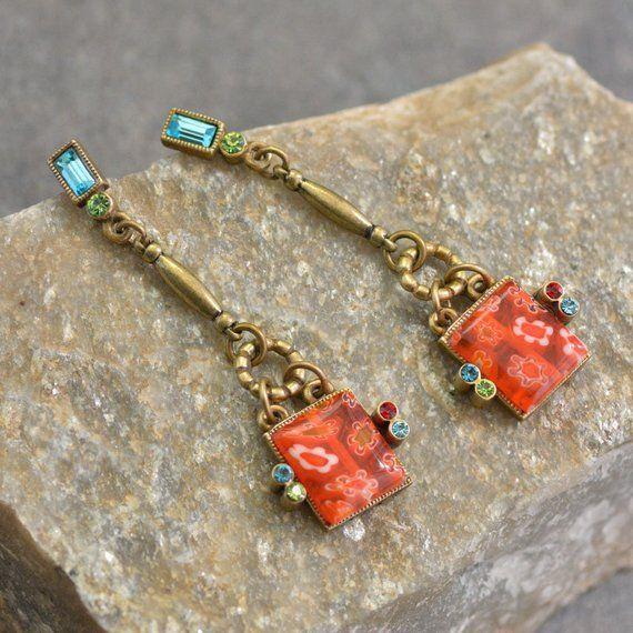 Millefiori Glass Square Drop Earrings Millefiori Earrings Etsy Retro Earring Murano Glass Jewelry Romance Jewelry