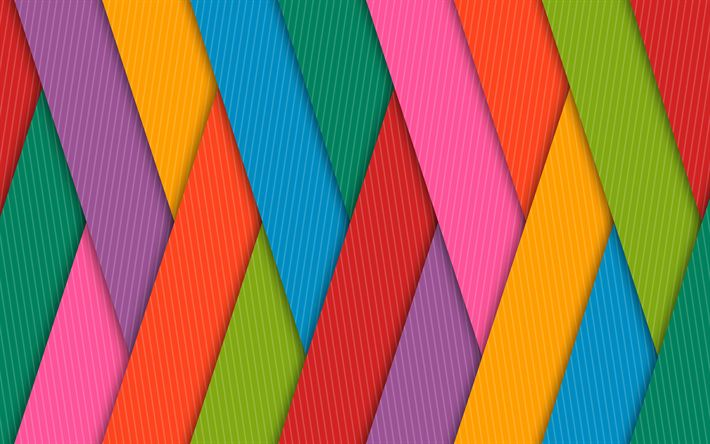 Download wallpapers colorful stripes, 4k, lines, creative, design material, abstract material