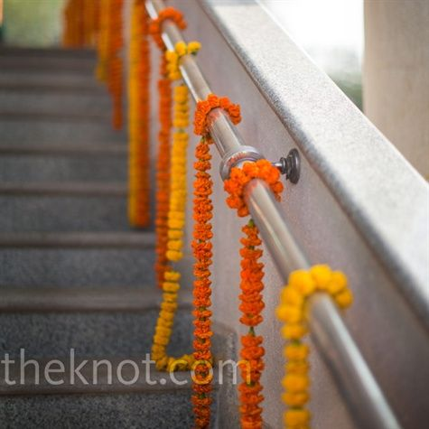 marigold garland ... inexpensive and easy way to do garlands that will have big color impact