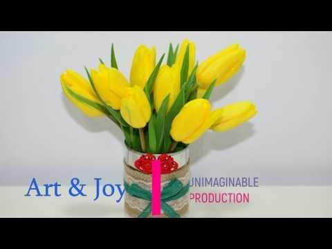 Flower vase can - room decoration ideas paper art craft diy tutorial creation make it like hacks