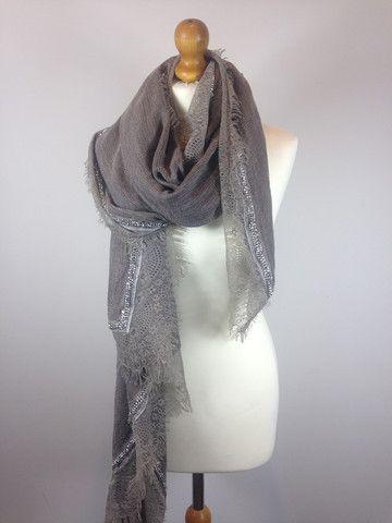 Lace Trim Scarves - Warm Grey | The Bohemian Beach Company