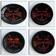 "Retired Fiesta® Halloween Black Cats Dinnerware includes 11"" Platter, 10.5"" Dinner Plate"