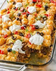Tater Taco Casserole Tater Taco Casserole - A Mexican mixture of...  Tater Taco Casserole Tater Taco Casserole - A Mexican mixture of taco meat beans corn and cheese topped with tater tots and enchilada sauce. Recipe : http://ift.tt/1hGiZgA And @ItsNutella  http://ift.tt/2v8iUYW