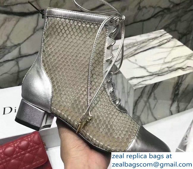2a5fb703ab Dior Heel 9cm Naughtily-D Lace-Up Ankle Boots In Silver Suede ...