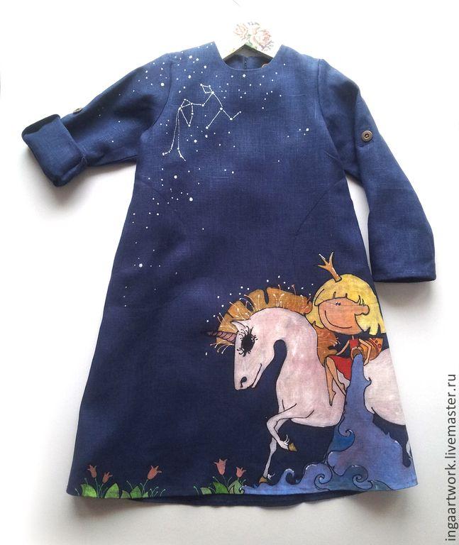 Специально для водолейчика. Ручная роспись. - синий, лён, льняное платье, ручная роспись, handmade dress