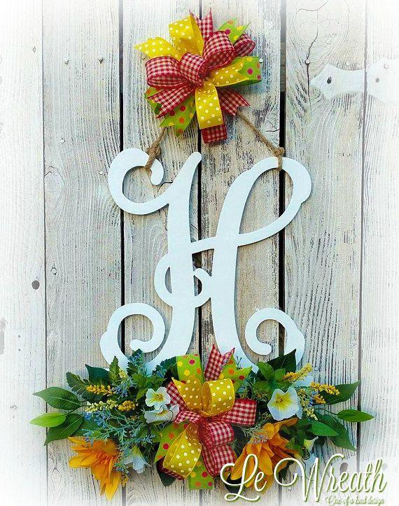 Monogram Door Hanger Floral Monogram Hanger Monogram Wreath