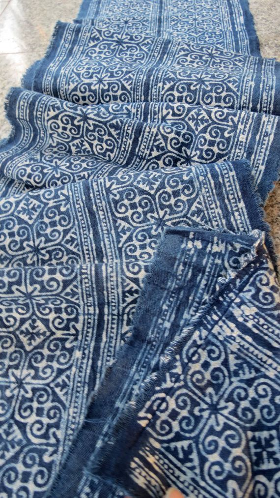 Tissus Vintage en coton tissé à la main bleu Indigo par dellshop