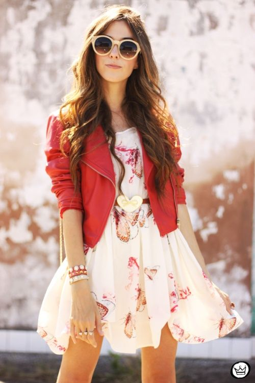 Cute summer party outfit - dress with butterflies, red leather jacket and sunglasses.