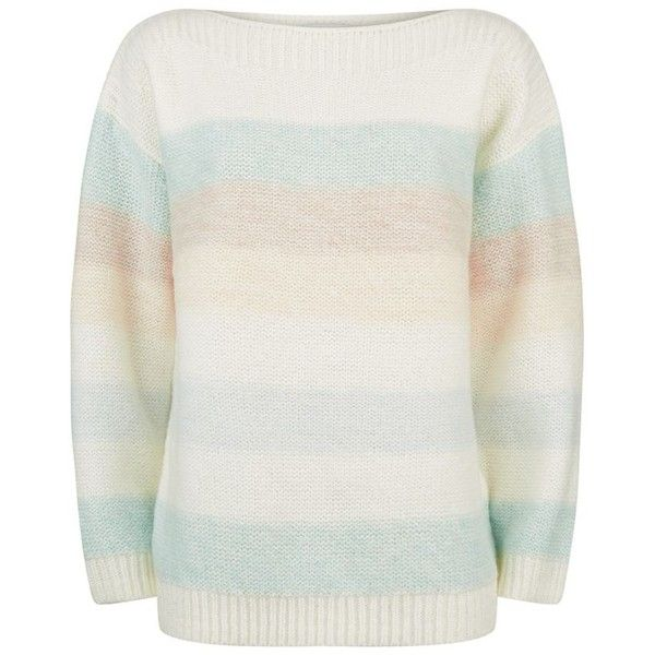 Reiss Naya Striped Jumper (£110) ❤ liked on Polyvore featuring tops, sweaters, striped top, pastel tops, reiss tops, pastel sweaters and striped jumper