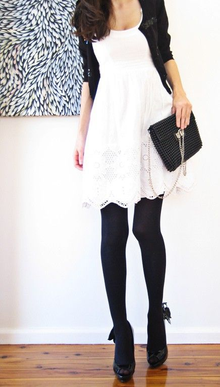 Off white dress with black tights look