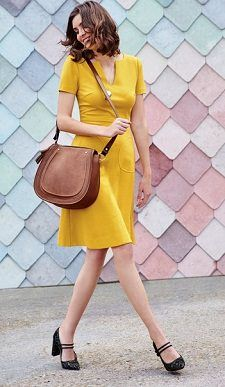 Yellow Dress for Work: Boden Carolyn Ponte Dress