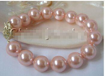 Великолепный 8  12 мм идеально круглый розовый юг морские раковины жемчужный браслет >>> оптовая продажа прекрасный женская свадебные украшения