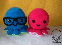 Kedves, csuda aranyos játszótárs kicsiknek, kézműves plüss polipok 2 színben, akár szemüveggel is