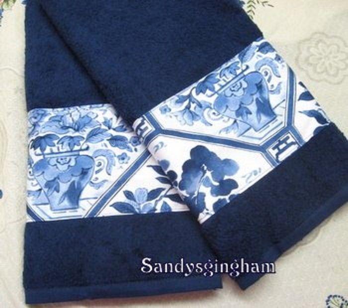 2 / RALPH LAUREN PALM HARBOR fabric Custom Decorated NAVY BLUE Hand Towels  #RalphLaurenfabric