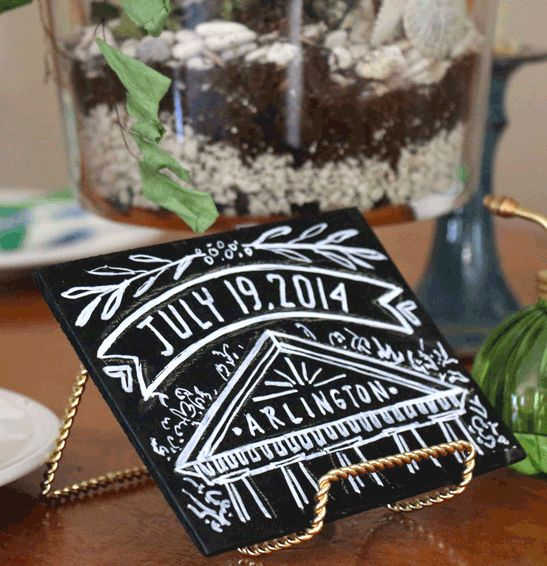 mini chalkboard seating table name by andrea casey wedding signs hand lettering