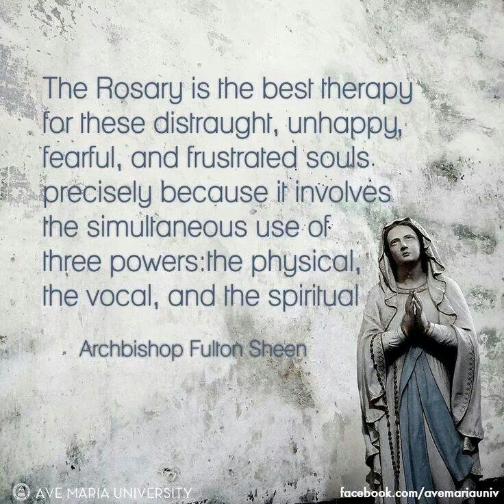 Archbishop Fulton J Sheen quote. Rosary. Catholic: