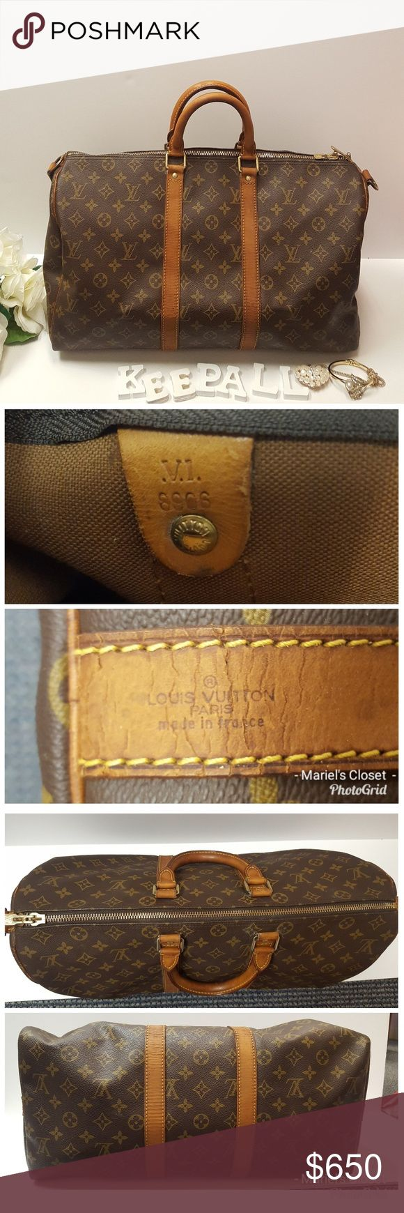 Authentic Louis Vuitton Keepall 45 Pre-owned. In good condition for it's age. No rip, no tear, no scuffing and no piping issue. There are some normal signs of wear Outside: suntanned, stain/crack on the vachetta and  handle. Patina on the handle. Hardware are in great condition just a Minor metal tarnished. wrinkle.  Inside: clean inside  Odor: no offensive odor.  Zipper: zipper working properly Louis Vuitton Bags
