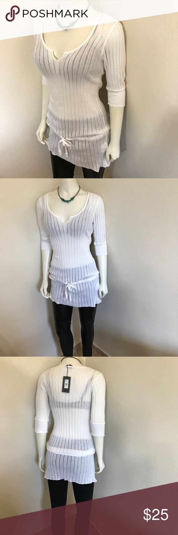 Armani Exchange White Sweater Top Or Dress NWT L 8 Label-A/X Armani Exchange Style-Thin Gage Short Sleeve Sweater Dress, Tunic Top. Can be worn with as a dress or over leggings/skirt like a tunic. I have 4 of these in 4 different colors.  Size-Large. Shown on a Size 2 5'8 mannequin. Fits a 8, 10 best Measurements-B-36 W-28 Hip-36 Shoulder to hem-24 All measurements unstretched. Color-White Fabric- Very thin Ribbed 100% Cotton Knit Condition-New with tags.  Origin-Hong Kong A/X Armani…