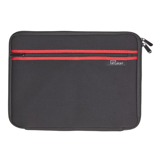 Sleeve for any 13″ Laptops, in black with red stripes outside. A unique sleeve, with foldable sides. The sleeve allows you to use your computer in the train, garden and other public places without worrying about the sun or your privacy.