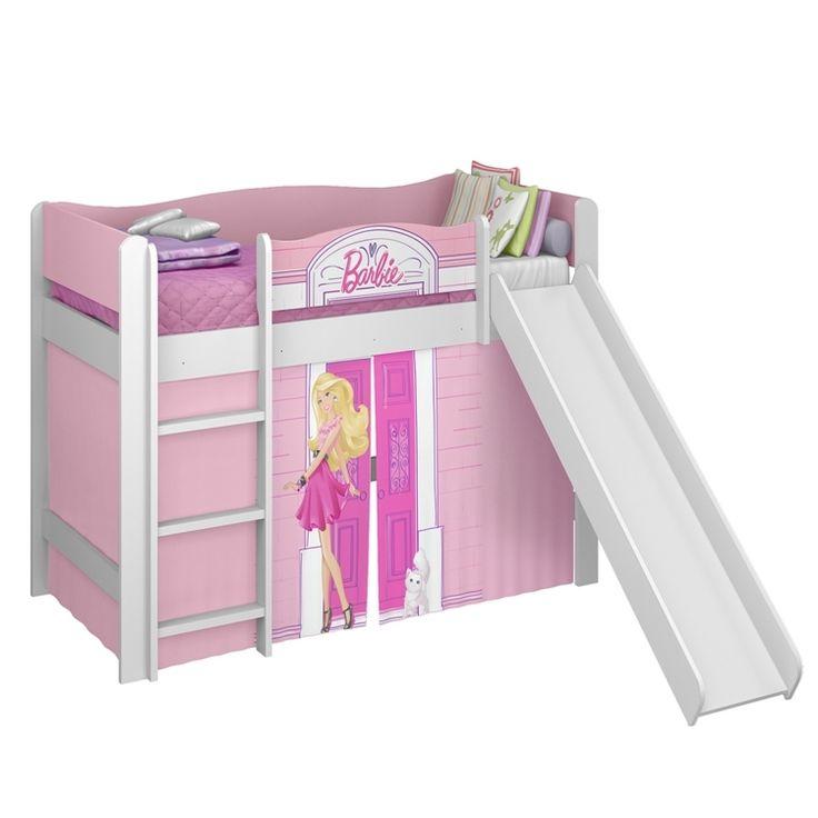 Cama Pura Magia com Escorregador Barbie Play Branco em Móveis para Quarto Infantil na MadeiraMadeira