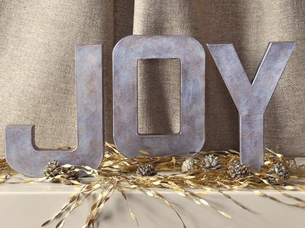 Display a little joy on a holiday mantel or entry table.Architecture Letters, Painting Letters, How To Paper Mache Letters, Zinc Letters, Diy Gift, Christmas Decor, Holiday Decor, Crafts Stores, Metals Letters