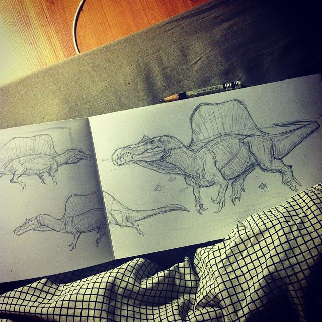 Bedtime doodles Spinosaurus, took me a few days to really warm-up to Spinosaurus's new look but now I fully embrace it :) #spinosaurus #dinosaur #bedtimedoodle #sketch