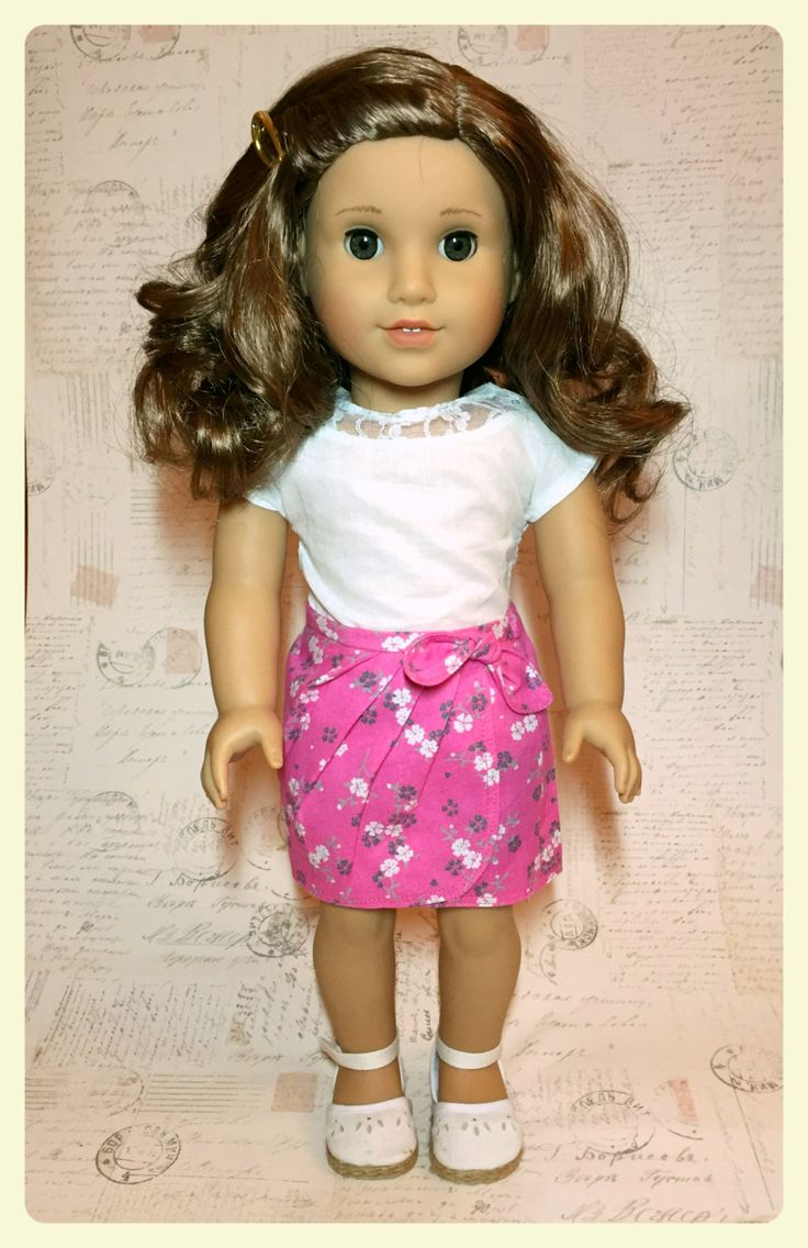 Pink floral sarong style skirt for 18 inch dolls by ABeeLine on Etsy
