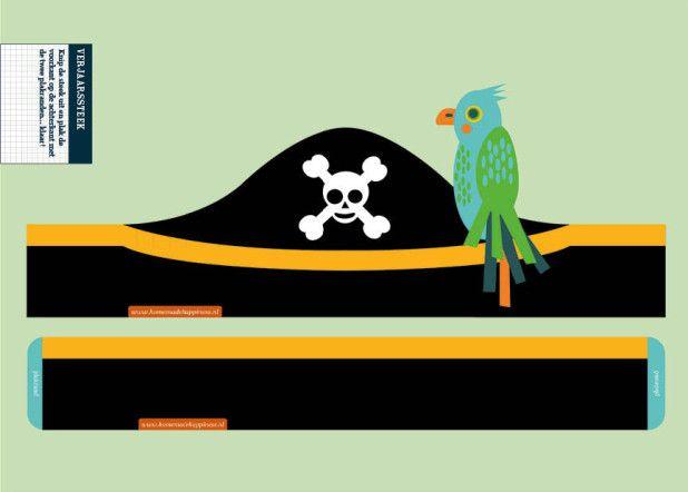 Kant&Klaar Knipboek Piratenfeest: feesthoed met papegaai (papieren knipvel, HomemadeHappiness.nl)