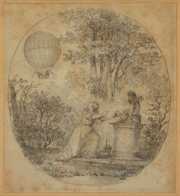 [Young woman putting flowers on statue of Cupid looks over her shoulder and sees the balloon carrying Jacques Charles and Marie Noel Robert on the first manned gas balloon flight, from Paris, December 1, 1783]