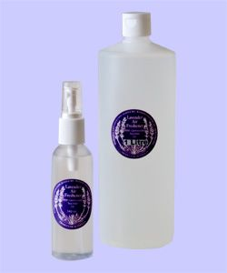 AIR FRESHENER By Warratina Lavender Farm. Lavender room spray in 125mL bottle. Contains a germicidal tea-tree oil. Marvellous to deodorize the bathroom. Also effective in a musty room, stuffy car or caravan. One spray is adequate. Available in 125mL & 1 litre bottle.