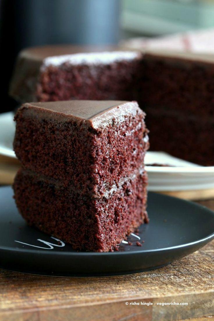 Vegan Chocolate Cake with Chocolate Peanut Butter Ganache. The Best Simple Moist Chocolate Layer Cake. Add raspberry or apricot preserves. Soy-free Palm Oil-free Recipe   VeganRicha.com
