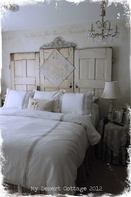 Repurposed doors headboard - by My Desert Cottage - great salvage project!  decorating before and after design ideas
