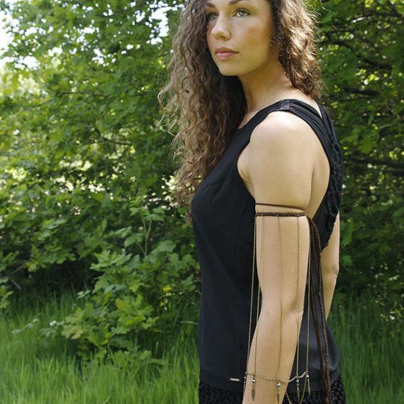 Free Spirit - Boho Sleeve Upper Arm - special upper arm band, with dark suede and brass chains.
