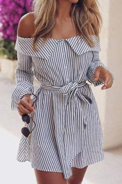 STRIPE OFF SHOULDER TIE WAIST DRESS No reviews