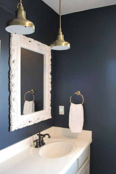 17 best images about bathroom on pinterest hale navy for Dark blue bathroom decor