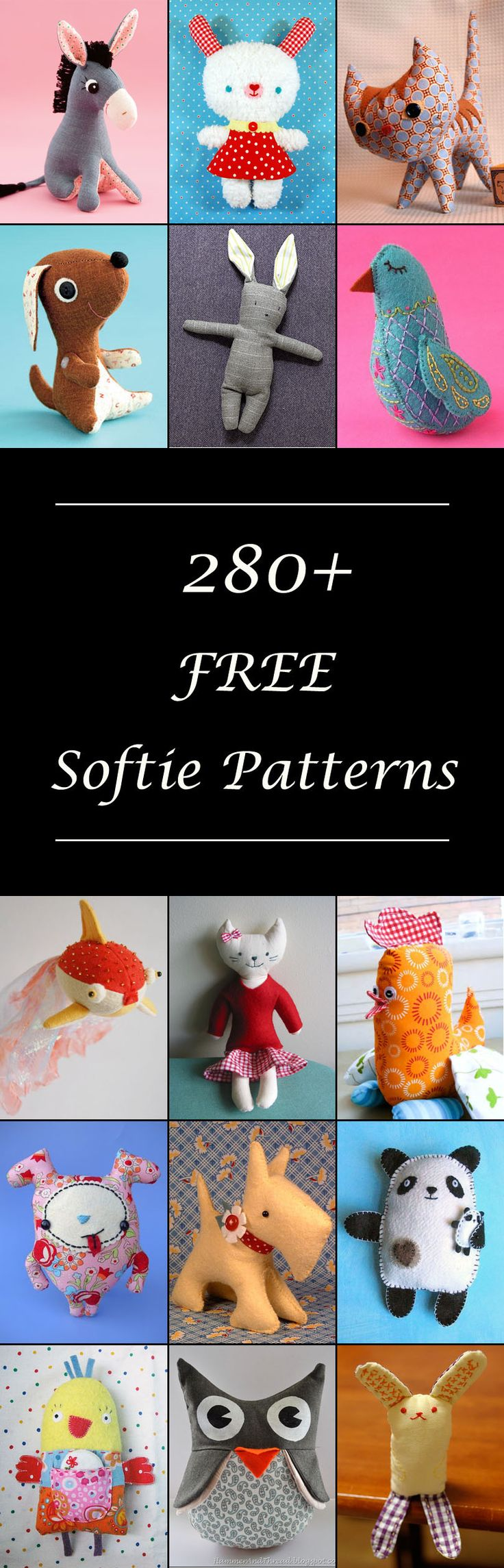 Lots of free stuffed animal patterns. Cute plushie & softie toys to sew. Simple & easy or advanced. Large & small. Bunnies, birds, cats & dogs, owls, pigs, and more!