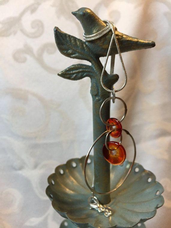 Upcycled Silver Necklace Orange Circle by DawningsCustomDesign